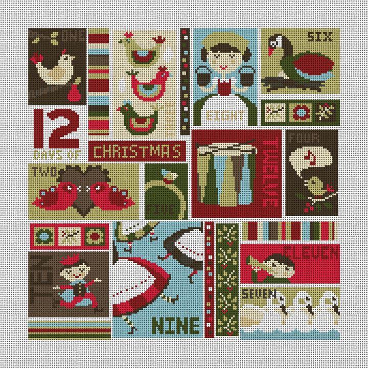 12 Days of Christmas Needlepoint Canvas