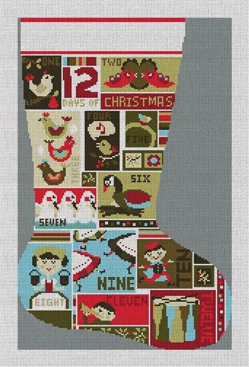 12 Days of Christmas Stocking Needlepoint Canvas
