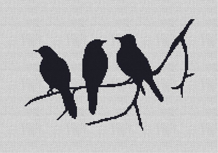 3 Birds Silhouette Needlepoint Canvas