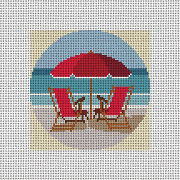 A Day At The Beach Needlepoint Ornament Canvas