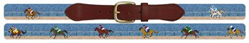 A Day At The Horse Races Needlepoint Belt