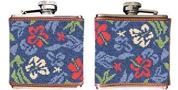 Aloha Hibiscus Needlepoint Flask