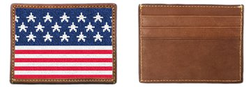 American Flag Needlepoint Card Wallet