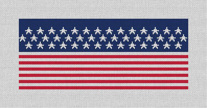 American Flag Needlepoint Flask Canvas