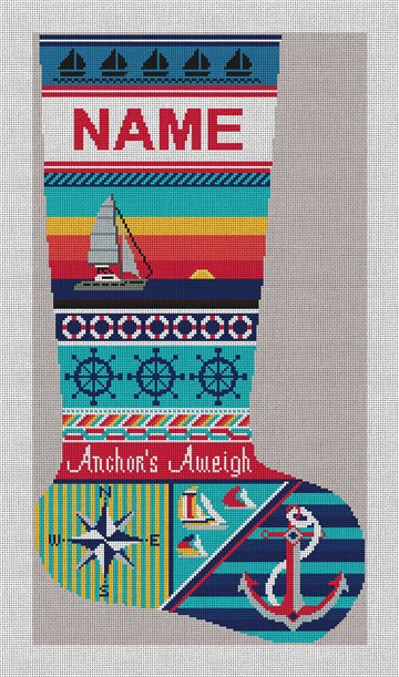 Anchors Aweigh Sailing Needlepoint Stocking Canvas