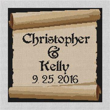 Ancient Wedding Scroll Needlepoint Canvas