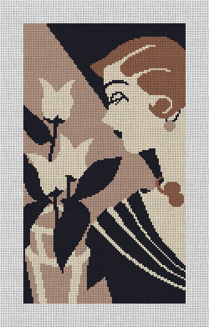 Art Deco Lady with Flowers Needlepoint Canvas