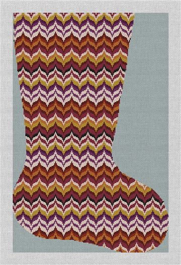 Autumn Wave Bargello Stocking Needlepoint Canvas
