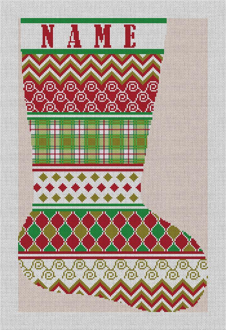 Avesta Personalized Needlepoint Stocking Canvas