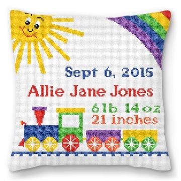 Baby Train Needlepoint Birth Pillow