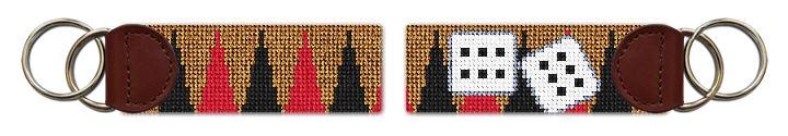 Backgammon Needlepoint Key Fob