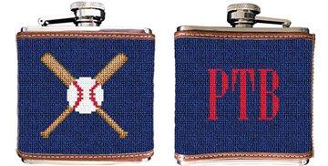 Baseball Needlepoint Flask