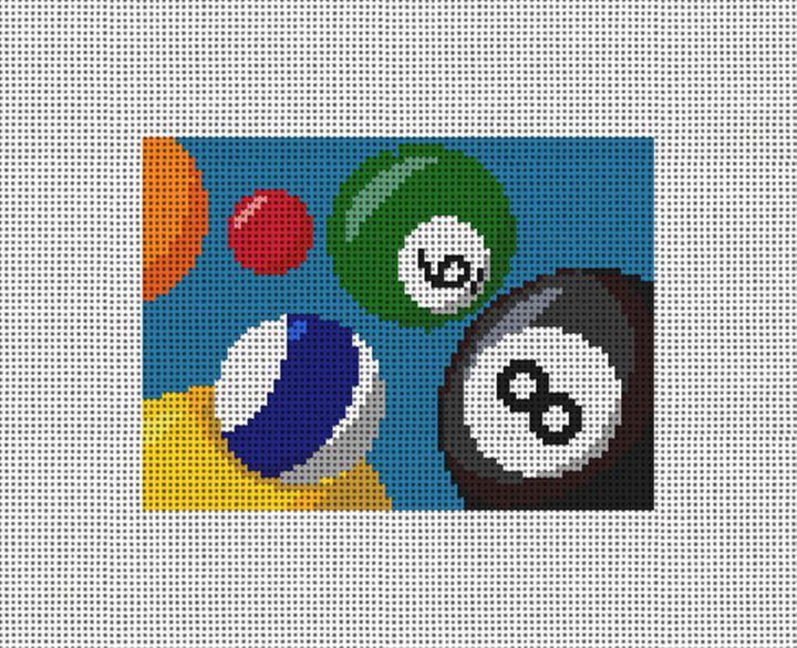Billiards Needlepoint Card Wallet Canvas