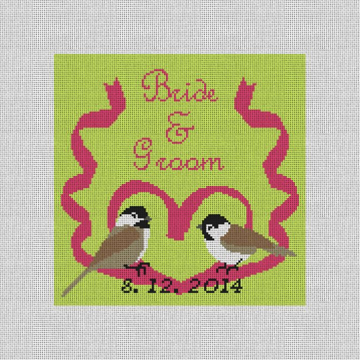 Birds in Love Custom Wedding Pillow Canvas