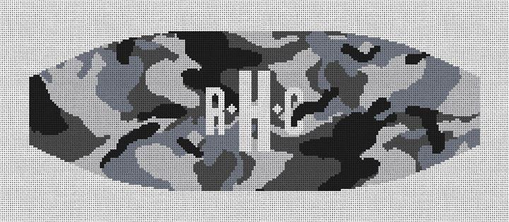 Black and White Camo Cummerbund Needlepoint Canvas