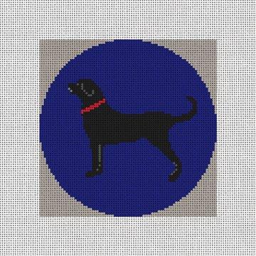 Black Lab Needlepoint Ornament Canvas