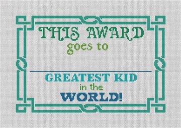 Blue Green Greatest Kid Needlepoint Kit