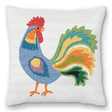 Blue Rooster Needlepoint Pillow