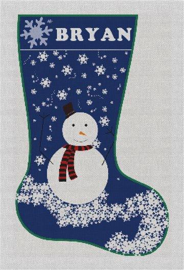 Blue Snowman Needlepoint Stocking Canvas