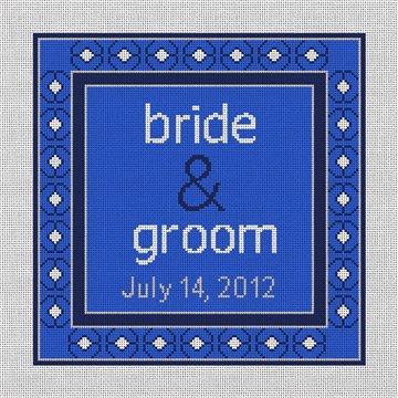 Blue Spice Timeless Wedding Needlepoint Canvas
