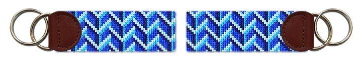 Bold Blues Needlepoint Key Fob