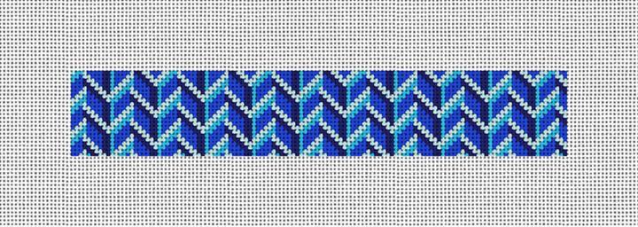 Bold Blues Needlepoint Key Fob Canvas