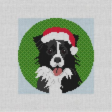 Border Collie Needlepoint Ornament Canvas