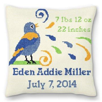 Boys Bird Bath Personalized Baby Pillow