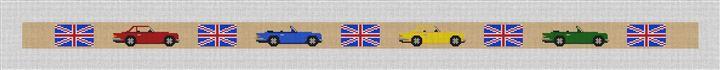 British Triumph Cars Needlepoint Belt Canvas