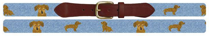 Brown Dachshund Needlepoint Belt