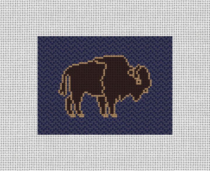 Buffalo Needlepoint Card Wallet Canvas