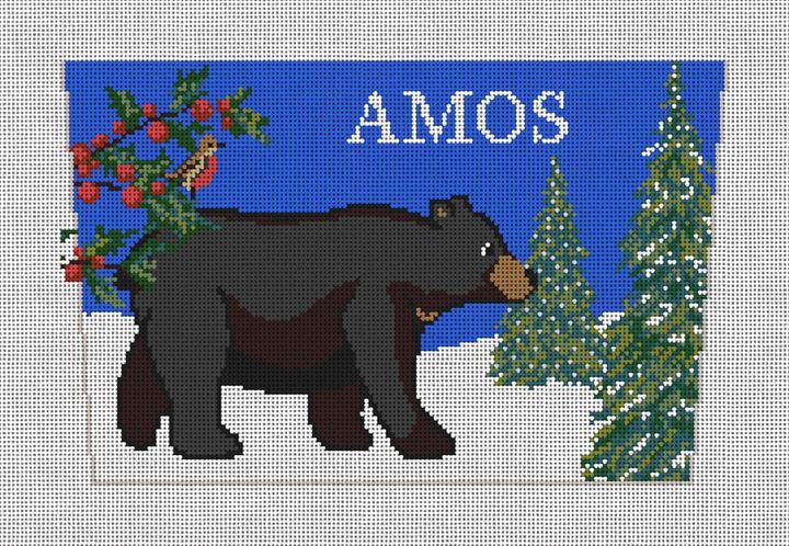Burly Black Bear Stocking Cuff Needlepoint Canvas