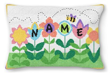 Busy Bee Personalized Needlepoint Pillow