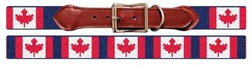 Canadian Flag Needlepoint Dog Collar