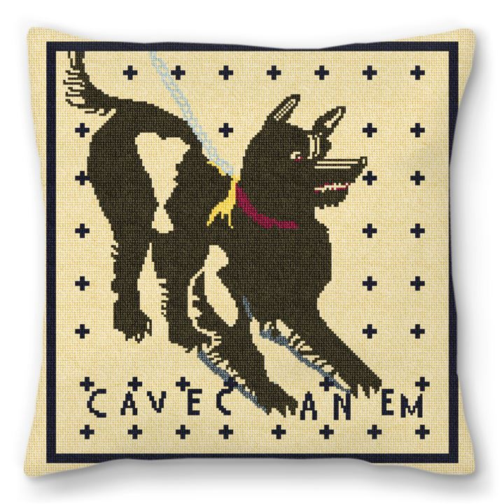 Cave Canem Mosaic Needlepoint Pillow