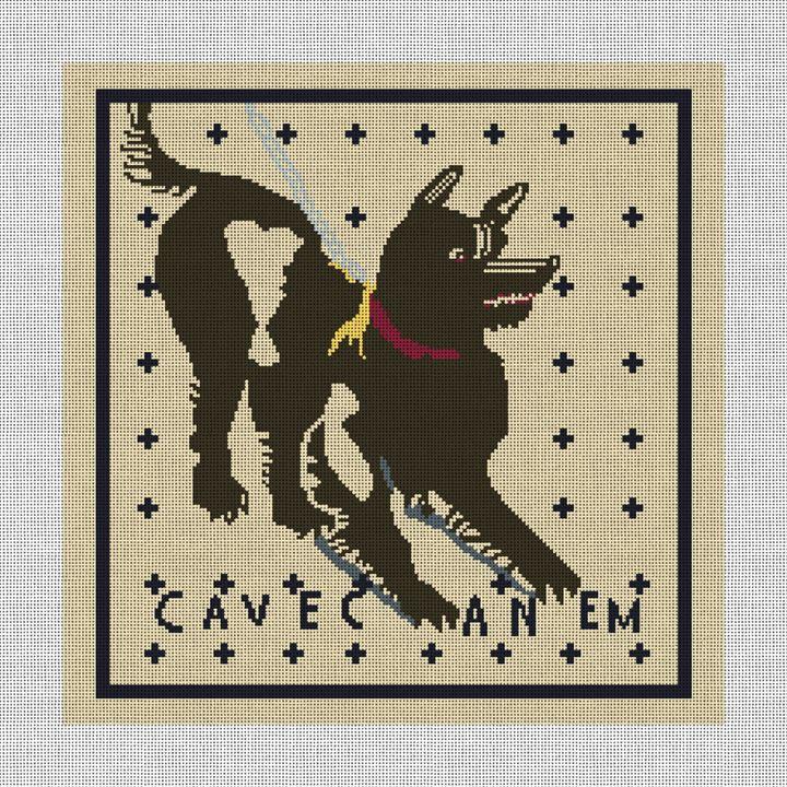 Cave Canem Mosaic Needlepoint Pillow Canvas