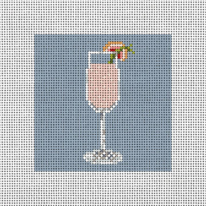 Champagne Cocktail Needlepoint Ornament Canvas