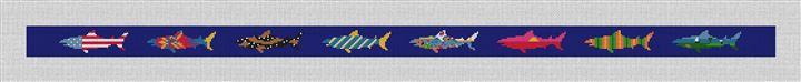 Chatham Great White Shark Needlepoint Belt Canvas