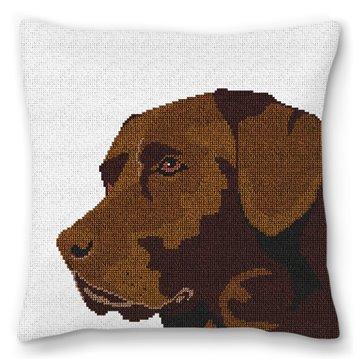 Chocolate Lab Needlepoint Pillow