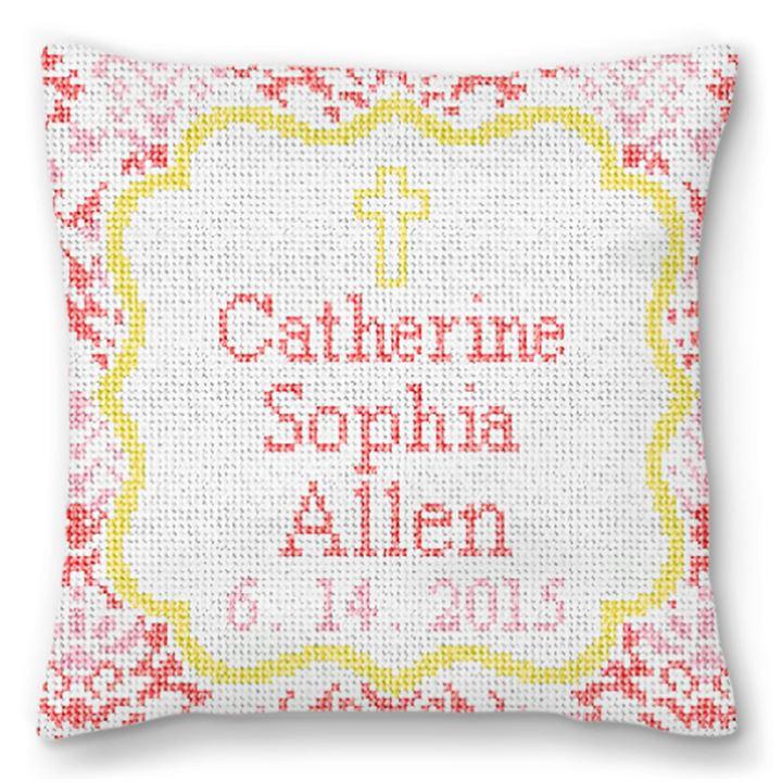 Christening Love Needlepoint Pillow