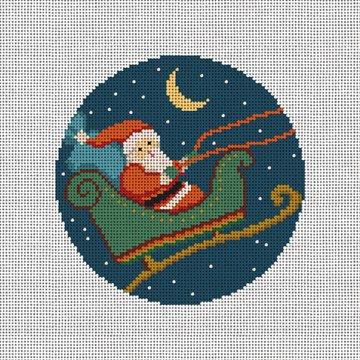 Christmas City Santa Needlepoint Ornament Canvas