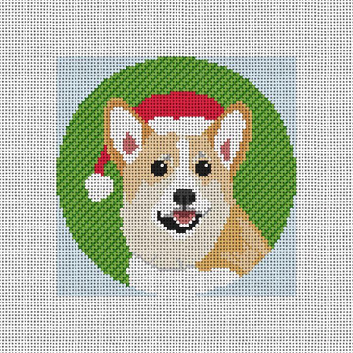 Christmas Corgi Needlepoint Ornament Canvas