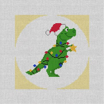 Christmas Dinosaur Needlepoint Ornament Canvas