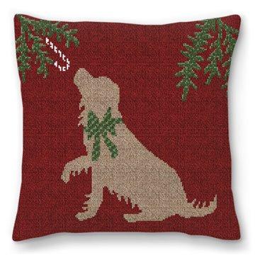 Christmas Dog Needlepoint Pillow