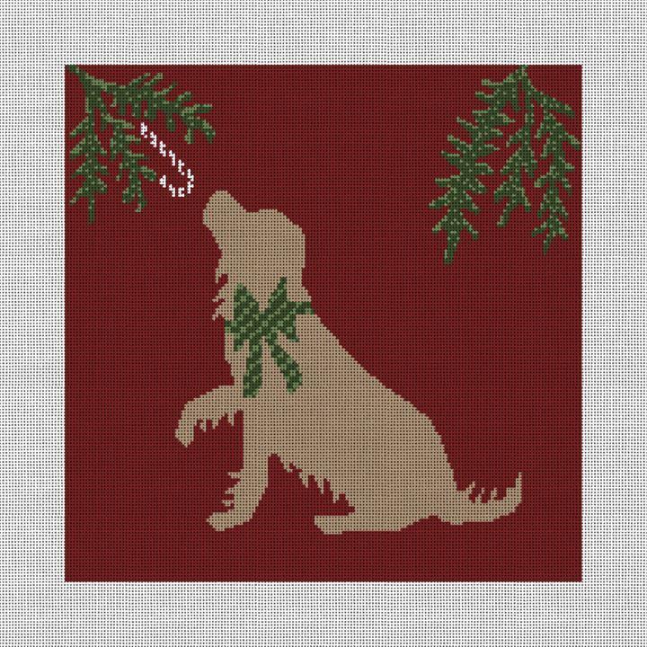 Christmas Dog Needlepoint Pillow Canvas