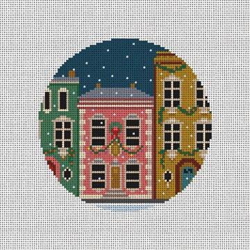 City Christmas Homes Needlepoint Ornament Canvas