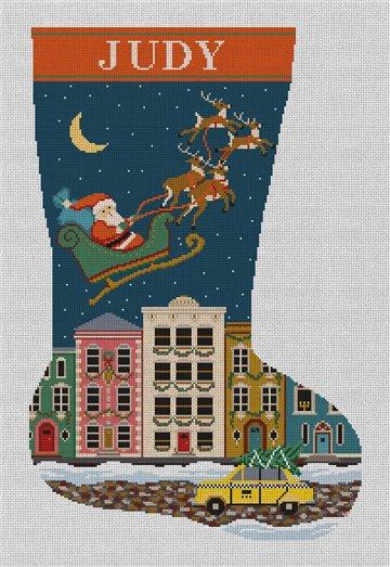City Christmas Needlepoint Stocking Canvas