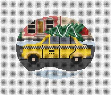 City Christmas Taxi Needlepoint Ornament Canvas