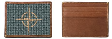 Classic Compass Needlepoint Card Wallet
