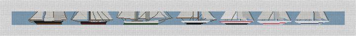 Classic Sailboat Racing Needlepoint Canvas